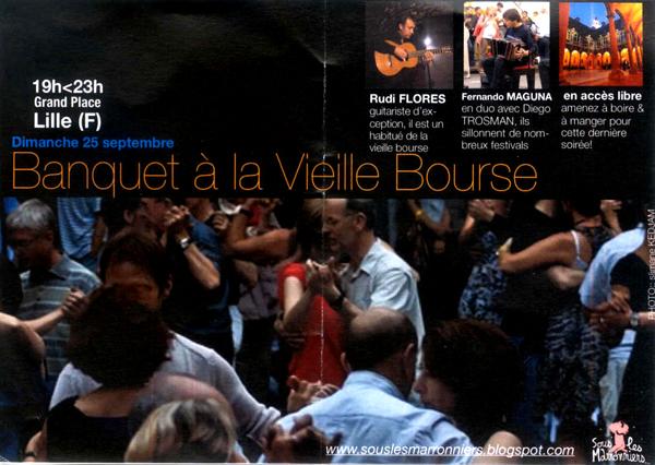 Affiche annonçant la fin de la saison de Tango à la Vielle bourse à Lille