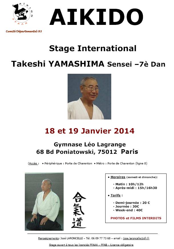 affiche du stage de Yamashima Sensei les 18 et 19 janvier 2013