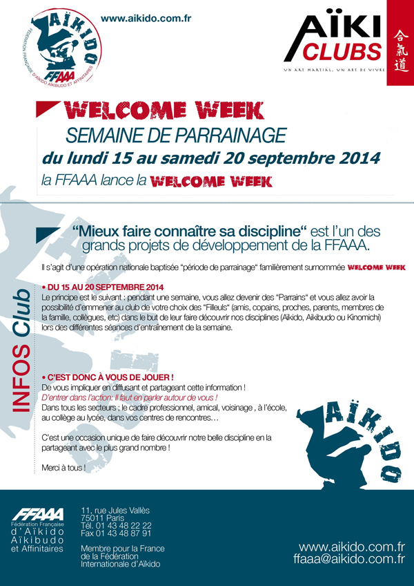 notice de l'opération Welcome week