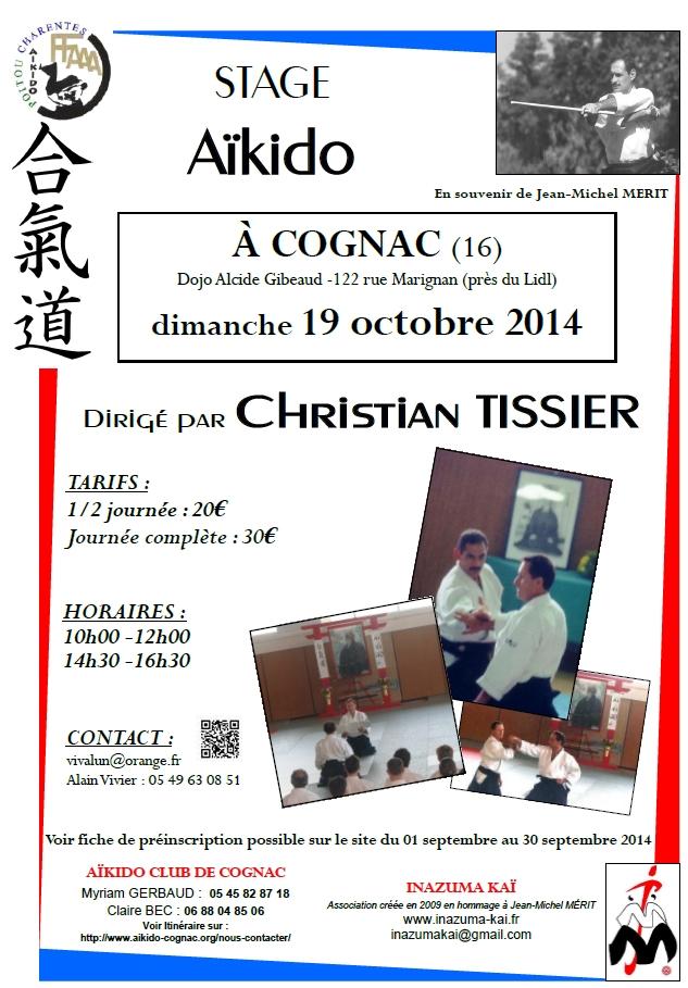 affiche du stage de Christian Tissier à Cognac en hommage à Jean-Michel Mérit