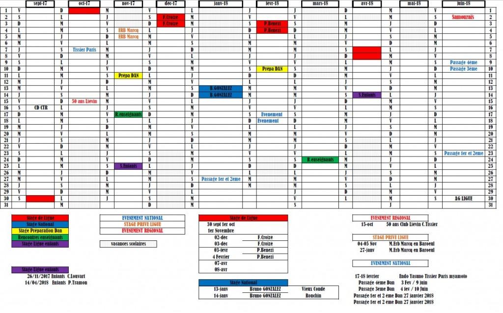 image du calendrer des stages de Ligue 2017-2018