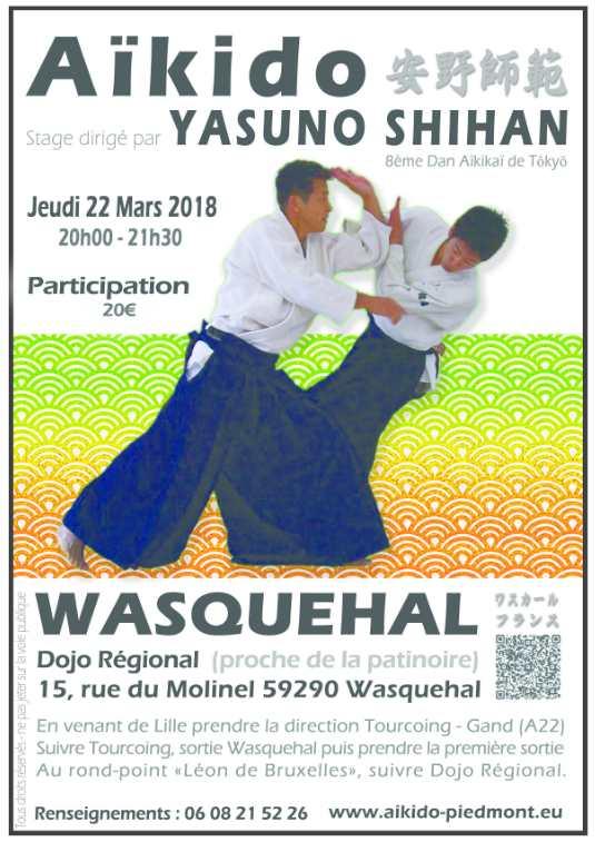 Stage international Yasuno Sensei à Wasquehal 22 mars 2018